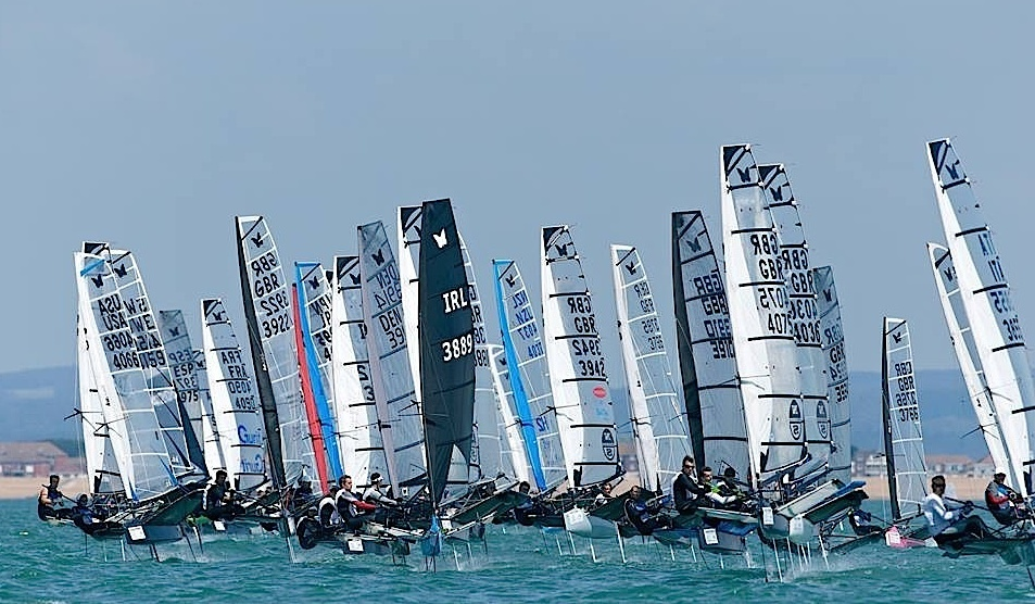 Alistair (black sail) competing at Hayling Island