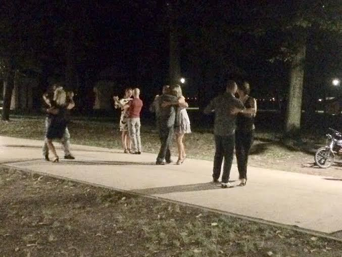 Dancing in the park at midnight
