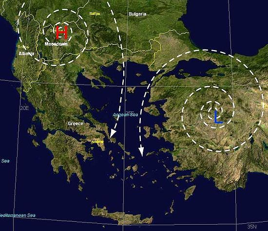 Meltemi occur when high pressure (H) forms over the Balkans and low pressure (L) forms over Turkey.