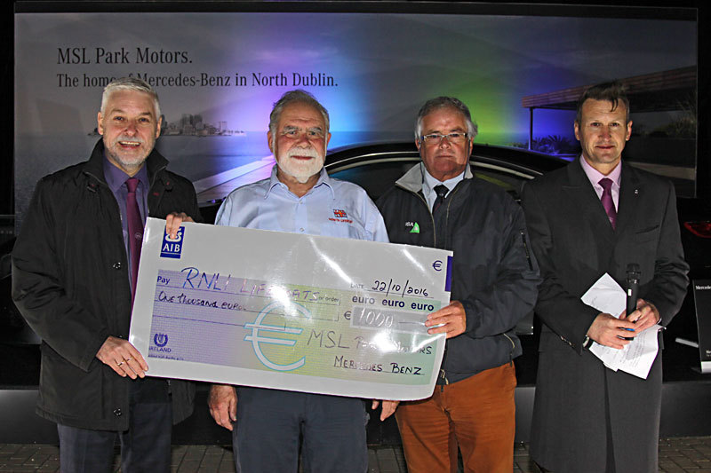 MSL's Brendan Grace presents Rupert Jeffares with a cheque for the RNLI with Commodore Berchmans Gannon and MSL Park Motors Mercedes-Benz Brand Manager Dean Fullston.