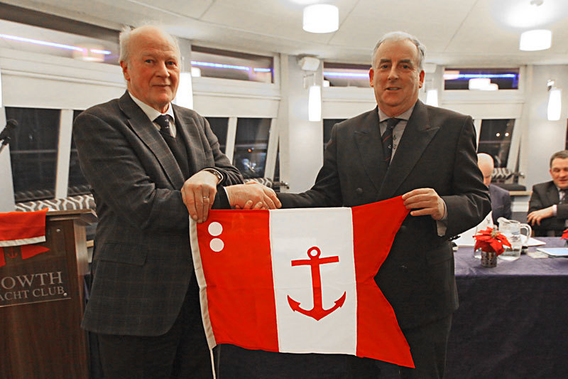 Paddy Judge accepts his Rear Commodore's Flag