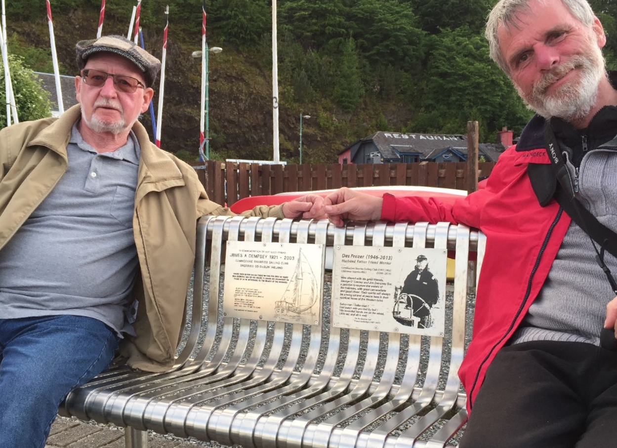 Liam Dinneen and John Furlong appropriately relaxed on the 'Skerries Chair'